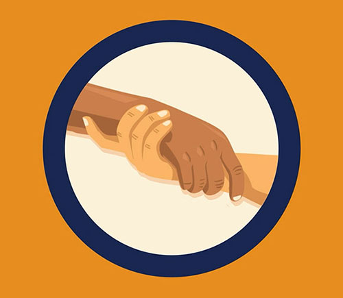 Illustrated image of 2 hands coming together surrounded by a navy circle. Orange background.